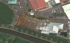 Dose rates measurement locations over a parking close to Fukushima Daiichi