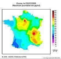 Ozone map : daily maximums - Courtesy Ademe
