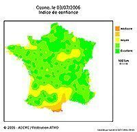 Ozone map : confidence index - Courtesy Ademe