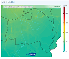Example of NO2 map integrating background and near road pollutions produced with Isatis on a daily basis - Courtesy Airparif