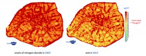 Annual mean levels of nitrogen dioxyde in Paris in 2002 and in 2012 - Courtesy Airparif