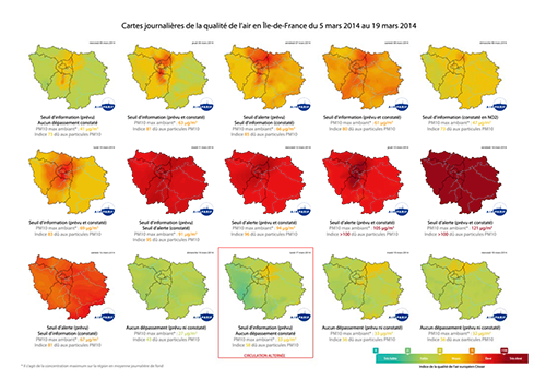 In March 2014, Paris went through a long and intensive period of pollution. Thanks to its modelling tools which include Isatis, Airparif forecast a given number of threshold exceedances which allowed the authorities to set into action the emission reduction plan - Courtesy Airparif
