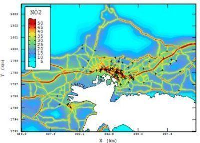 Cartography of NO2 over Toulon (France) - Airmaraix