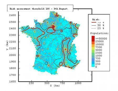 Hourly threshold of 180 µg/m3 in ozone (summer 2003) - ADEME
