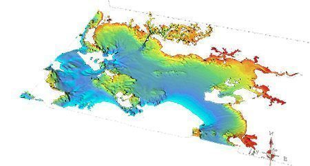 3D view on the Southern Brittany area of a unified 100m bathymetry model for the French coastal areas