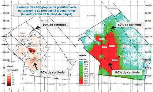 Example of a probability map indicating zones where the certainty to find the estimated level of pollution is the highest.