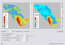 Example of (1) a site contamination mapping by kriging, (2) mapping of the probability of contamination