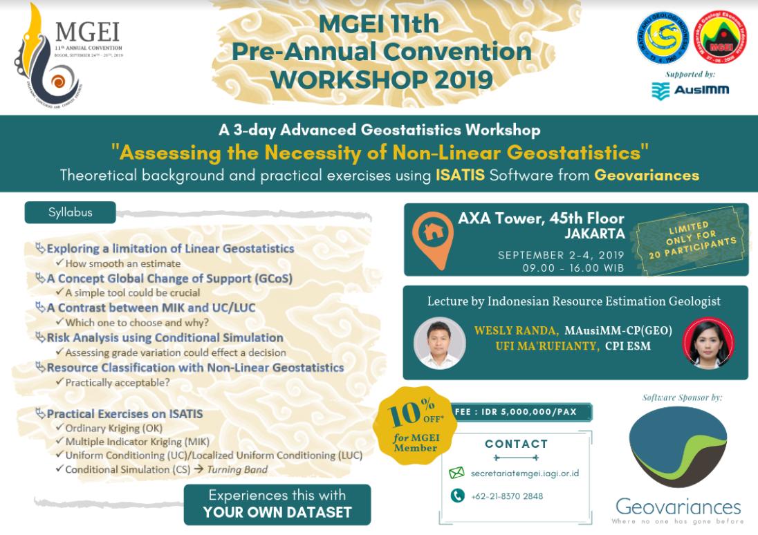 MGEI 11th Pre-annual convetion 2019 advanced geostatistics workshop